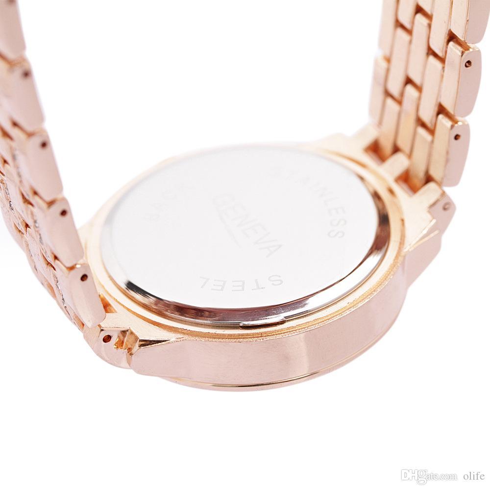 Luxury Quartz Diamond Stainless Steel Crystal platinum Watch Unisex Men Women Plated Geneva Bling Ladies Clock wrist Watches