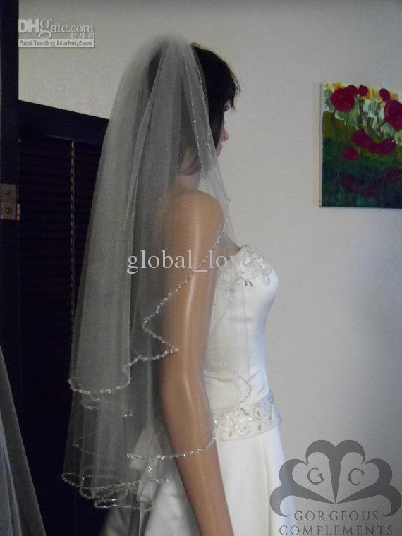 2016 Veils For Bridal Crystals Ivory Wedding Comb Rhinestones Beaded Edge Swarovski Hot Sale Two Layers Tulll Veil