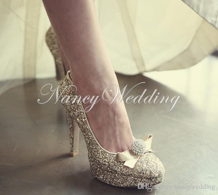 Zapatos de noche y de la boda para las mujeres de lujo de oro Rhinestone ronda dedo del pie nupcial tacones zapatos de baile de promoción