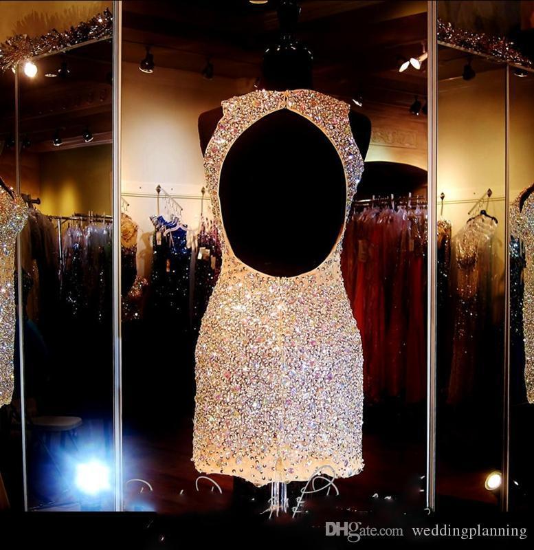반짝이는 크리스탈 2016 짧은 댄스 파티 드레스 3 색 착용 주요 구슬 뒷캡 블링 블링 소녀 댄스 파티 드레스 플러스 사이즈