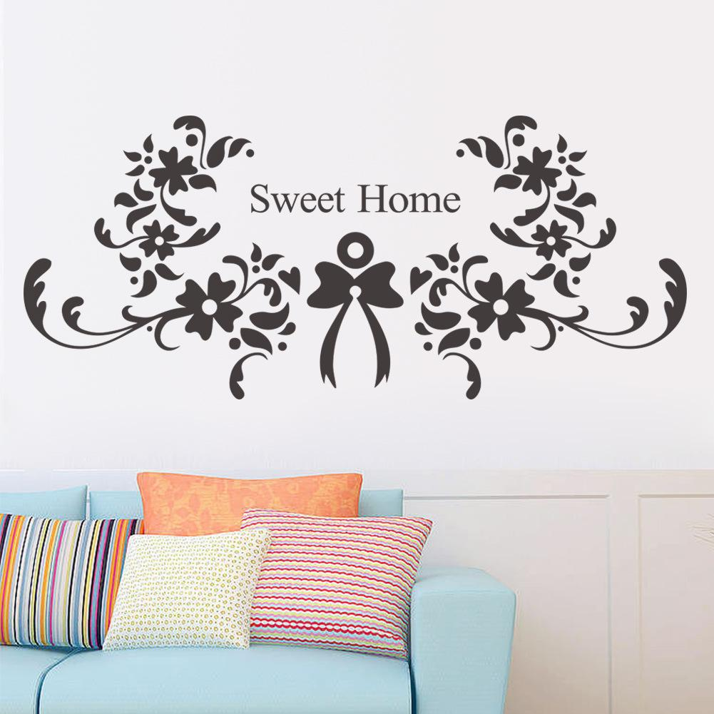 Have a Nice Day Wall Quote Decor Sticker Black Flowers Sweet Home Lettering Art Mural Bedroom Living Room Wall Decor Poster Sticker