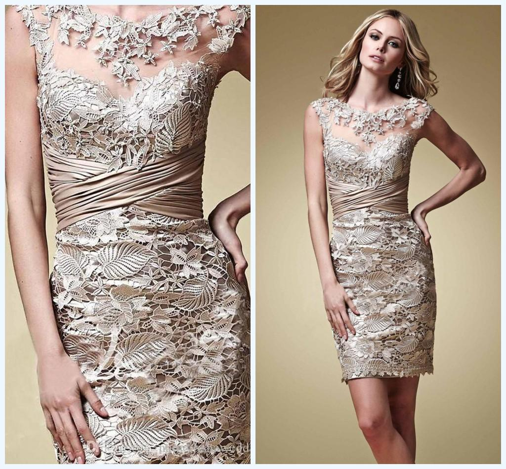 Champagne Vintage Lace Mother Of The Bride Dresses Above Knee ...