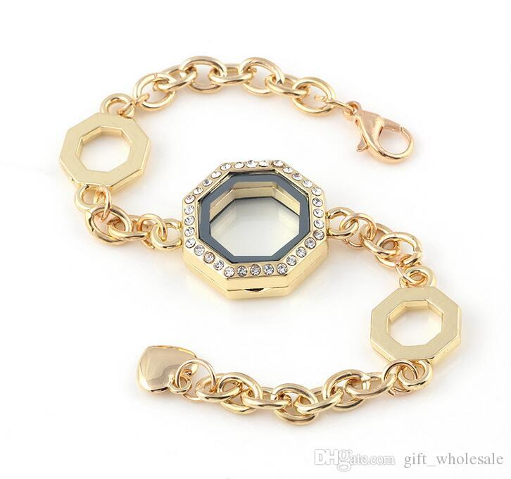 I 24mm poligono geometrico vetro magnetico galleggiante medaglione braccialetto + strass all'ingrosso braccialetti di modo braccialetti 10 pz / lotto