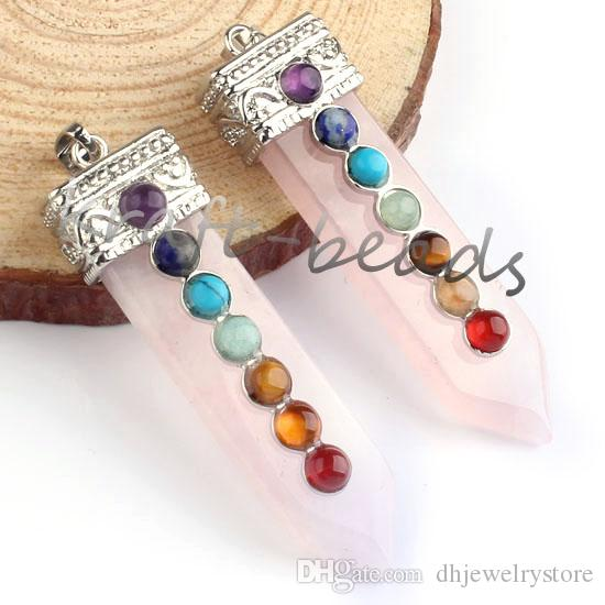Commercio all'ingrosso argento placcato ordine della miscela pietra di cristallo di quarzo forma di spada intarsio 7 perle perline pendente di chakra punto di guarigione