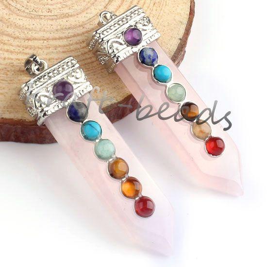 Wholesale Silver Plated Quartz Crystal Stone Sword Shape Inlay 7Stone Beads Healing Point Chakra Pendant