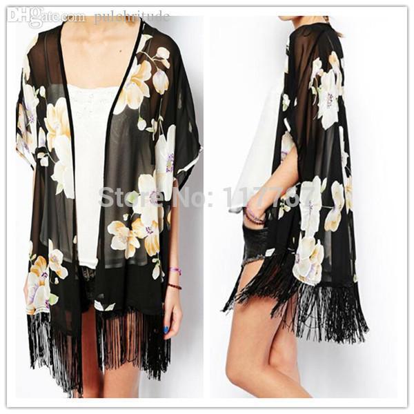 Wholesale-Long Tassels Chiffon Blouse Open Black Kimono Cardigans ... ee60453af