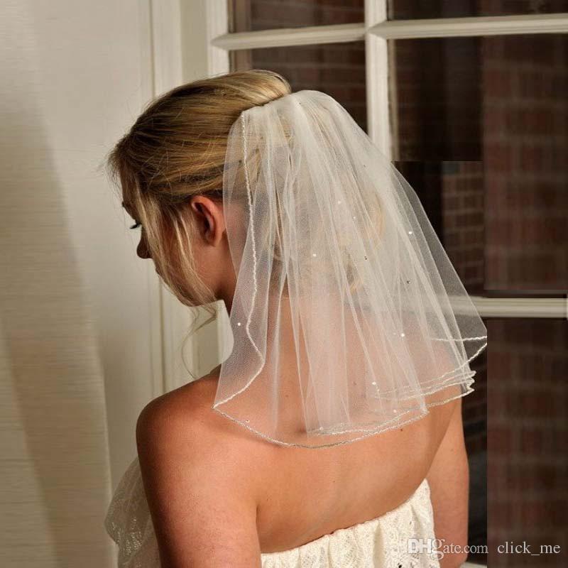 الحجاب رخيصة مع الترتر اليدوية اكسسوارات الزفاف طبقات الخرز رخيصة الزفاف الحجاب لحفل زفاف لصالح الطيات شحن مجاني