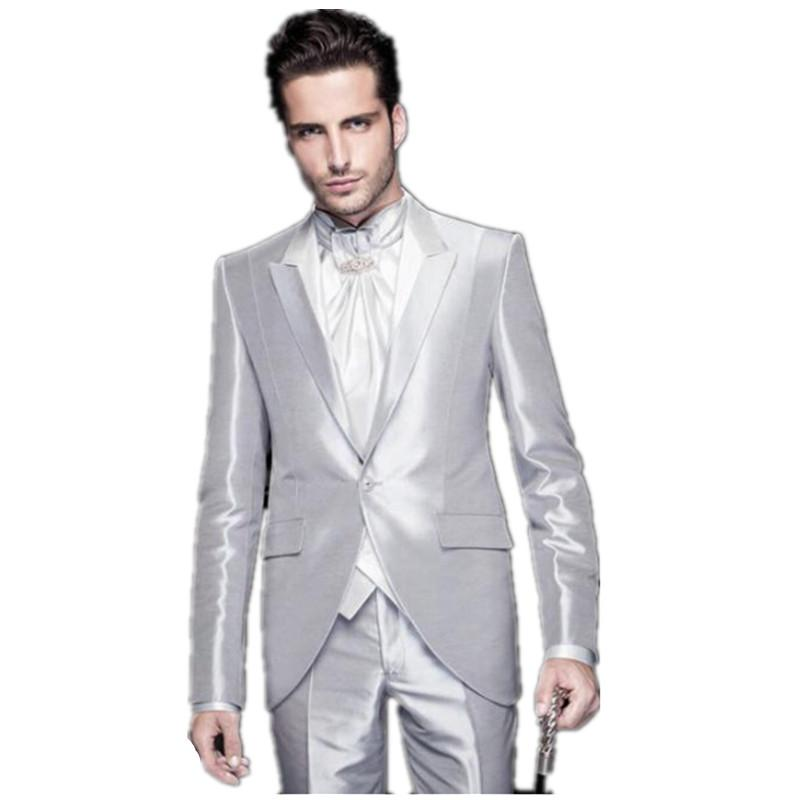 2016 Bright Silver Mens Wedding Suits Tuxedo Mens Best Grooms Suits ...