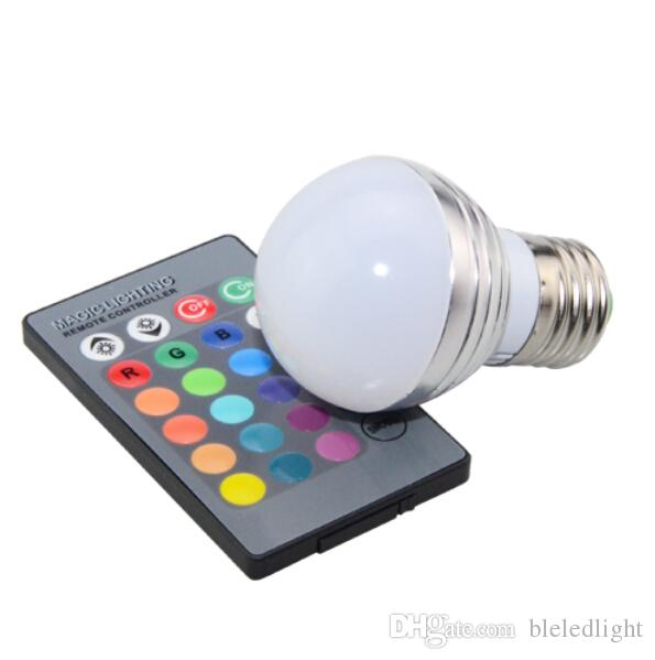 AC85V-265V 3W E27 E14 Color Change LED RGB Magic Light Dimmable Lampada Bulb Spot lamp lighting+24 key IR Remote Controller