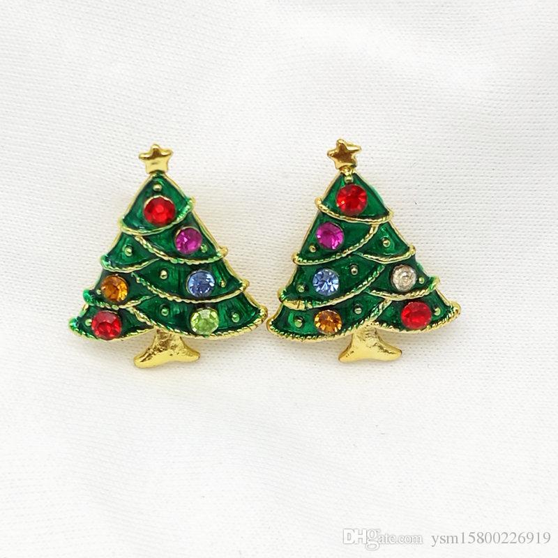 es Nouvelle Année Série Gouttes En Métal Drill Arbre De Noël Boucles D'oreilles 24 * 19MM Bijoux Cadeaux De Noël Boucles D'oreilles Décoratives