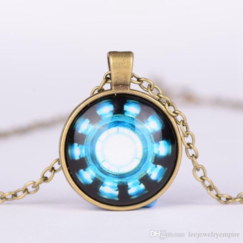 Time gem necklace Europe and the United States film Avenger steel armor hero heart arc energy necklace long fashion party jewelry