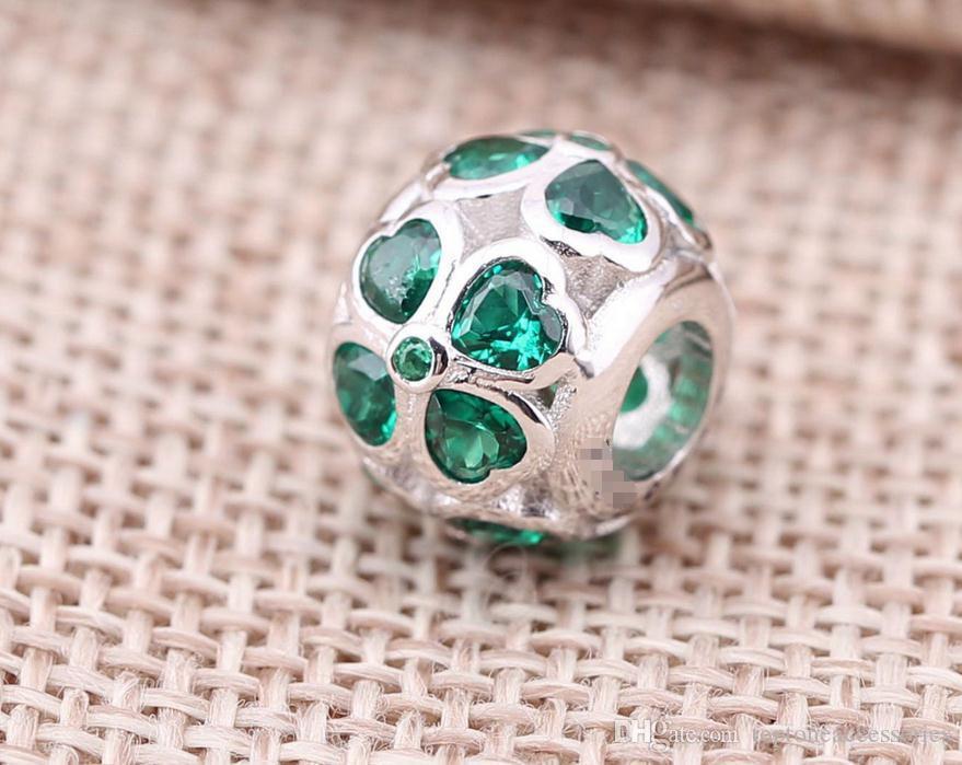 Sterling Silver Charms 925 Ale Coeur Vert Trèfle Charms pour Pandora Bracelets DIY Perles Fixes Accessoires Livraison Gratuite
