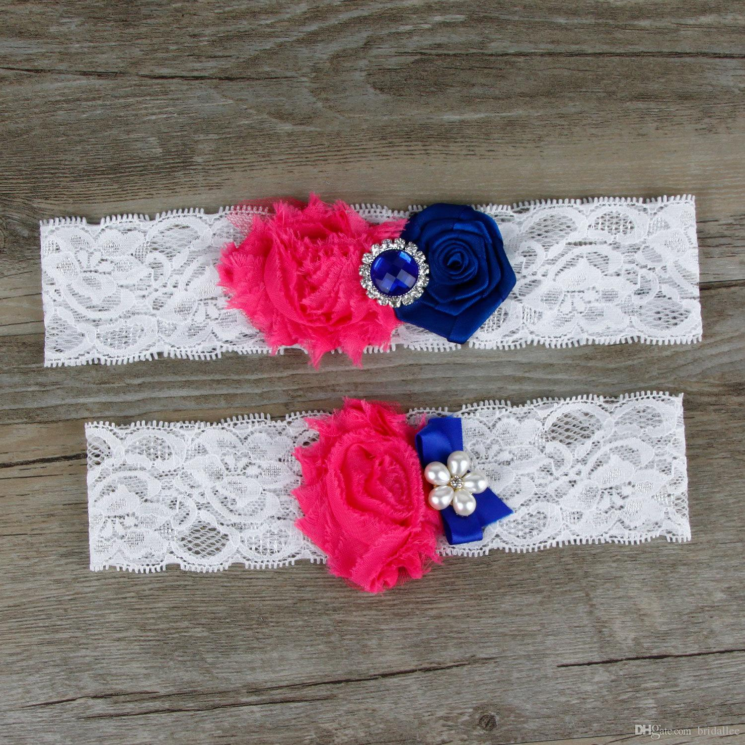 Real Picture Lace Bridal Garters Handmade Flowers Crystal Wedding Garters Pearls White Nave Blue and Fuchsia Flower Cheap Wedding Leg Garter