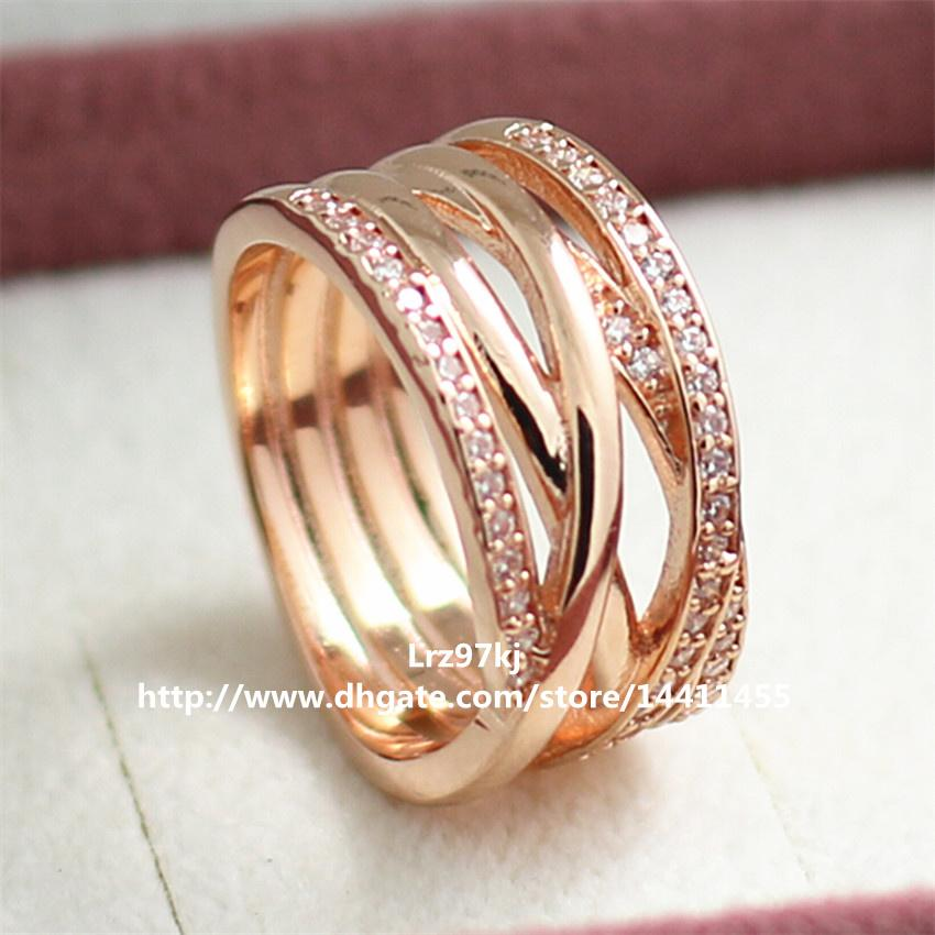 2018 European Pandora Style Rose Gold Plated Entwined Charm Ring