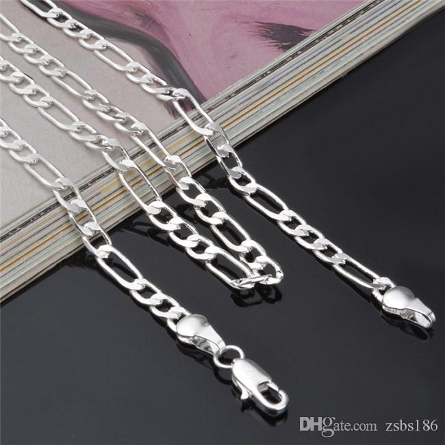 4 MM Figaro zincir kolye 16-24 inç 925 Ayar gümüş kaplama Moda erkek Takı Üst kalite ücretsiz kargo