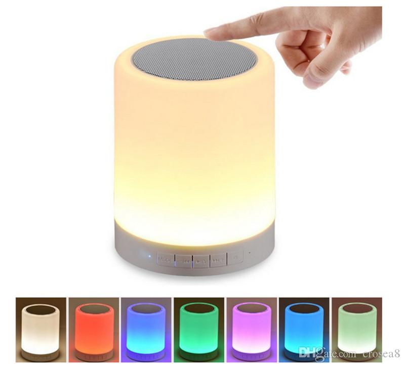 new Night Light Bluetooth Speakers Portable Wireless Music Speaker Smart Touch Control Color LED Bedside Table Lamp Speakerphone TF Card