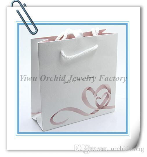 Atacado Requintado Saco De Presente de Papel de alta Qualidade 16 * 16 * 6 cm Serve Para Pandora Jóias Pulseira Colar Caixa De Embalagem Saco De Compras saco