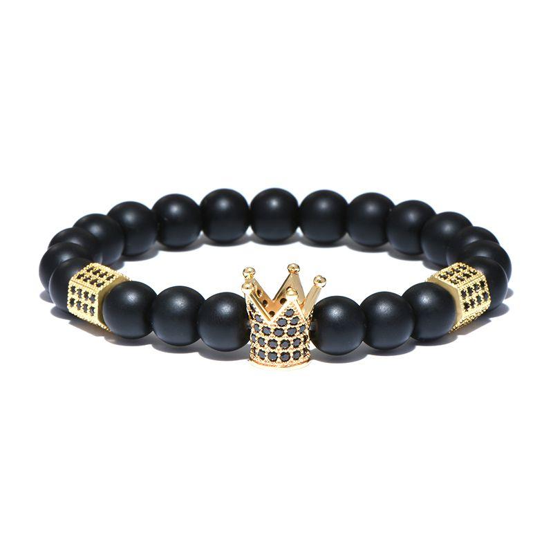 Classic Imperial Crown Stoppers Pulseras Para Hombre Granos de Piedra Natural Braclet Para Mujeres de Los Hombres Joyería de la Mano Pulseras Mujer