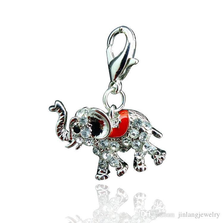 최신 패션 떠 다니는 매력 합금 라인 석 코끼리 랍스터 걸쇠 매력 DIY 액세서리 쥬얼리