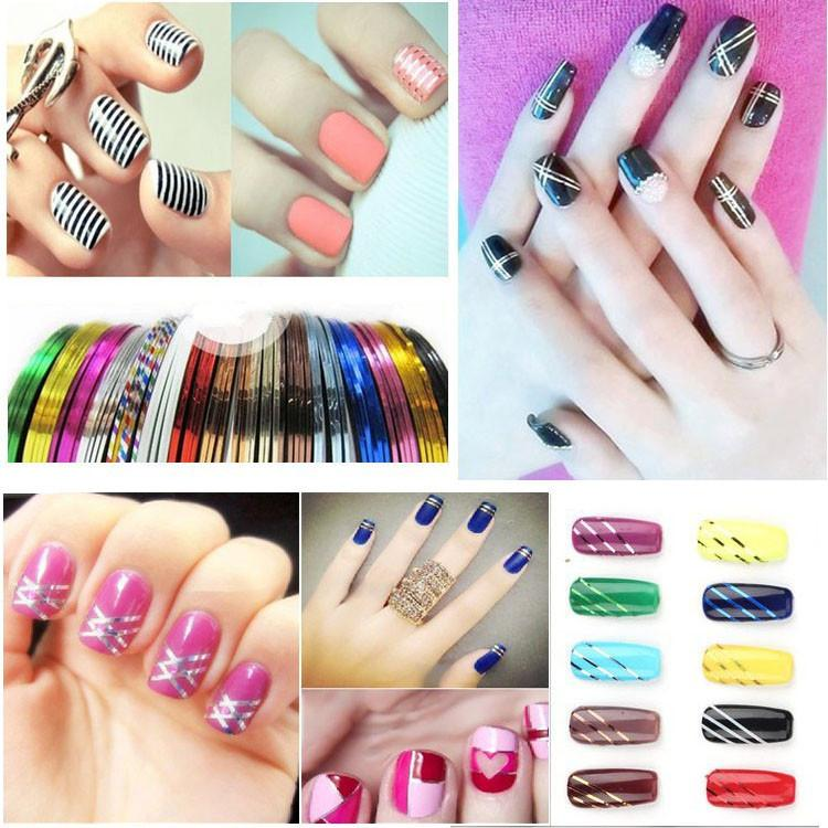Mixed Colorful Beauty Rolls Striping Decals Foil Tips Tape Line Diy ...