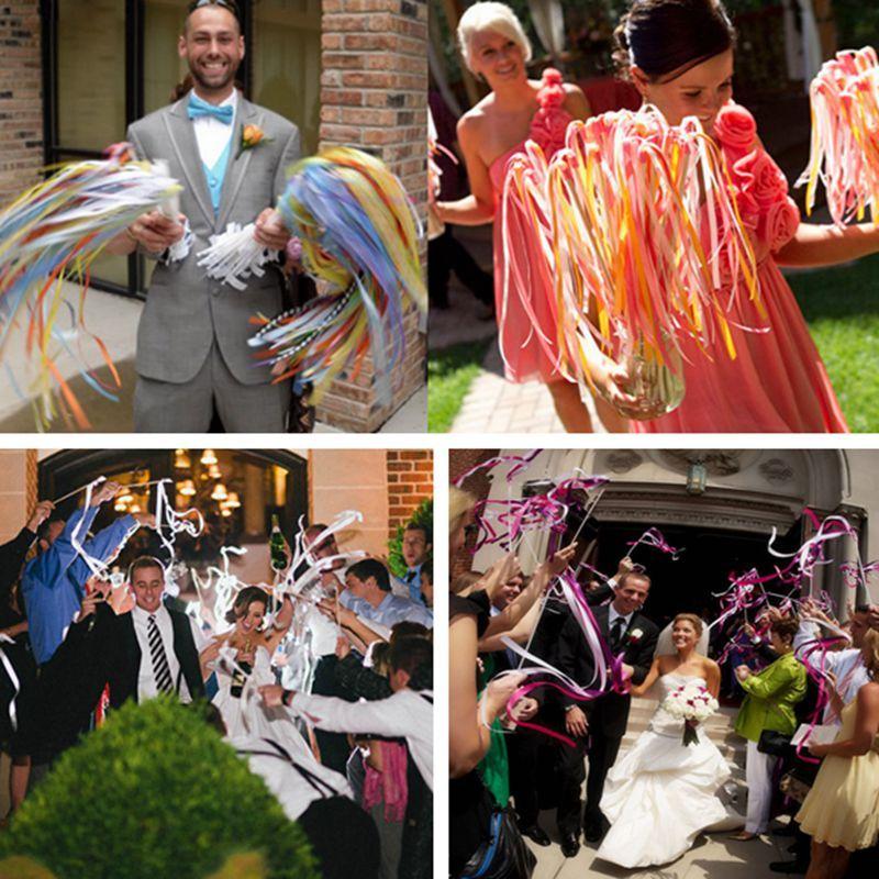 Wedding Ribbon Stick Multicolor Wedding Confetti Twirling Stream ...