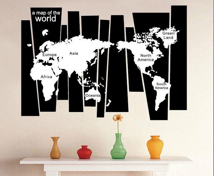 나무 줄기 벽 데칼 스티커 7 대륙 세계지도 벽 귀영 나팔 포스터 가정 훈장 벽 골동품 도표 벽옥 장식