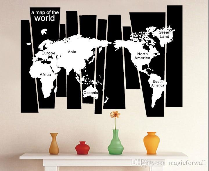 Tree Trunk Wall Decal Sticker Seven Continents World Map Wall Tattoo Poster Home Decoration Wall Applique Graphic Wallpaper Decor