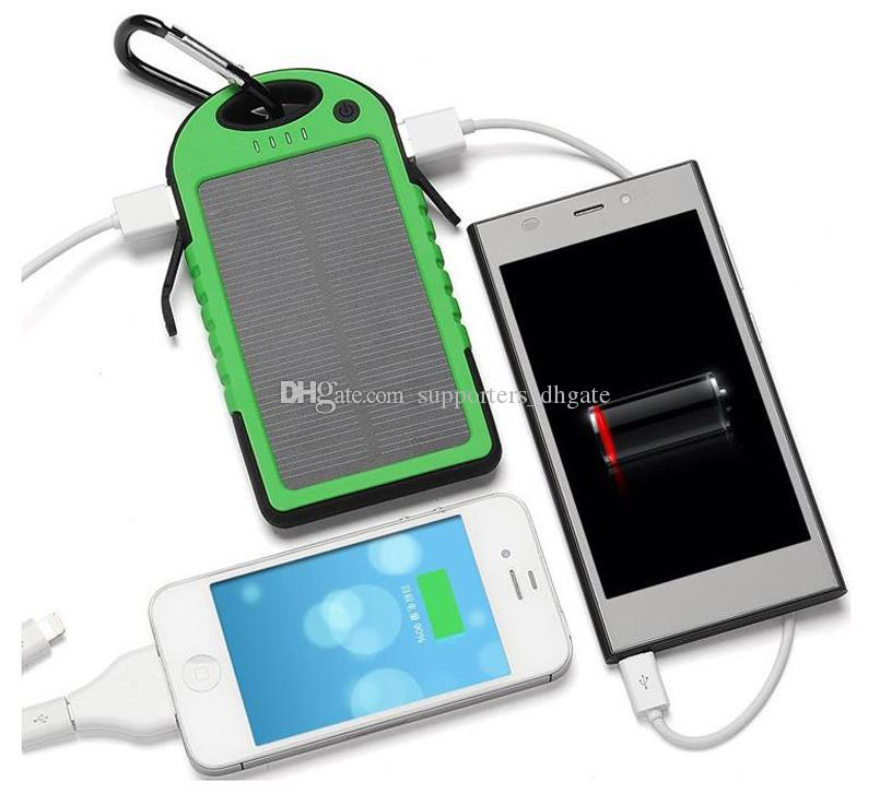 solar power Charger 5000mAh Dual USB Battery solar panel waterproof shockproof portable Outdoor Travel Enternal powerbank for cellphone