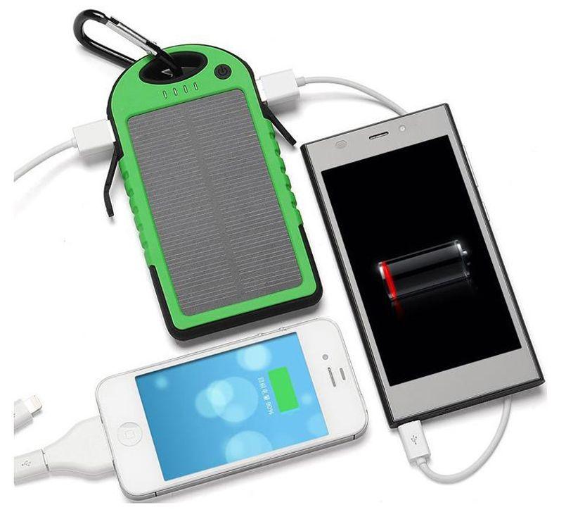 드롭 태양 전원 은행 충전기 5000mAh 듀얼 USB 배터리 태양 전지 패널 방수 shockproof 휴대용 야외 여행 휴대 전화에 대 한 Enternal