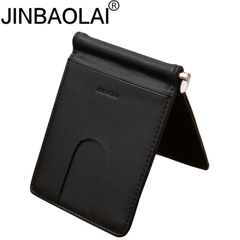 jinbaolai genuine leather simple men black money clip credit card slots bits fashion wallet purse black red color r036 mens wallet cool card holder leather - Mens Money Clip Credit Card Holder