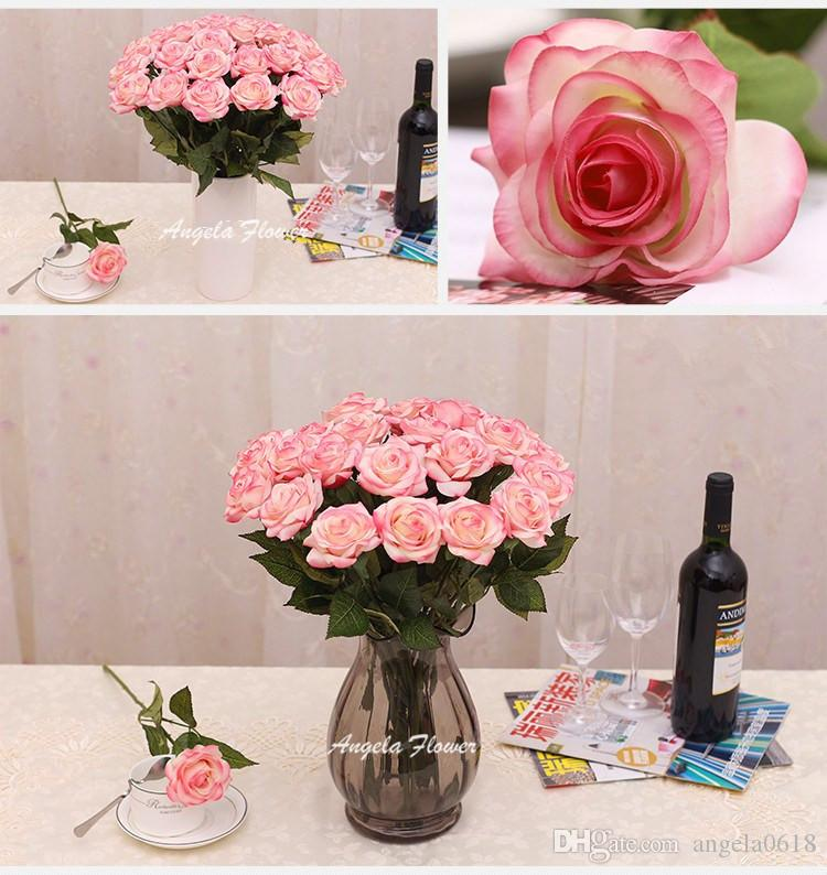 Hot Sale 2015 artificial real touch silk rose flower Romantic Decoration For Valentine Home Party Wedding