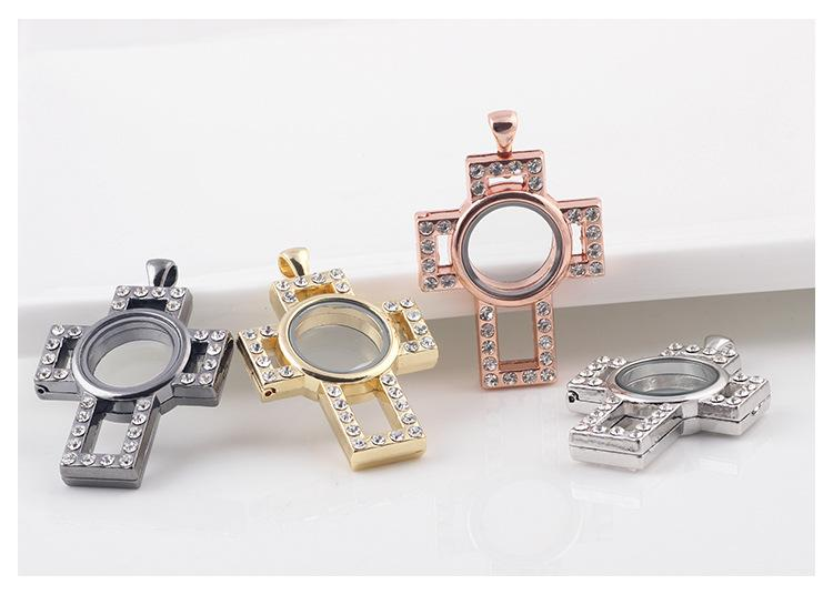 Hot Cross DIY Glass floating crystal lockets Rose Gold or Silver plated Living Memory pendants Locket For necklaces Jewelry Accessories