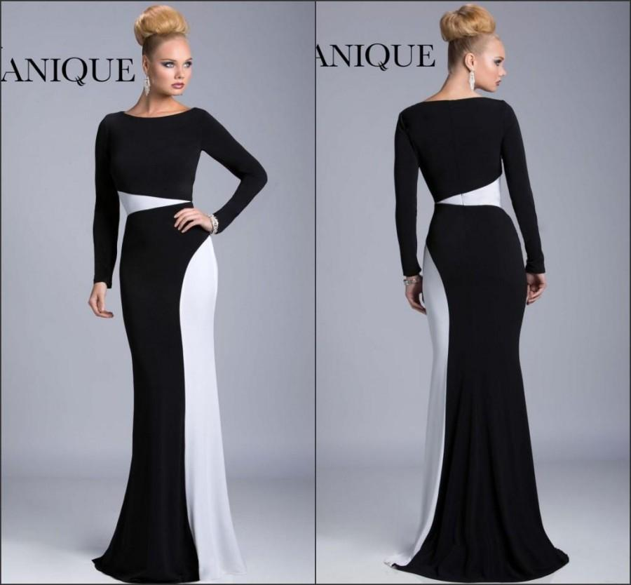 Classical White And Black 2016 Prom Dresses Long Sleeves Dresses ...