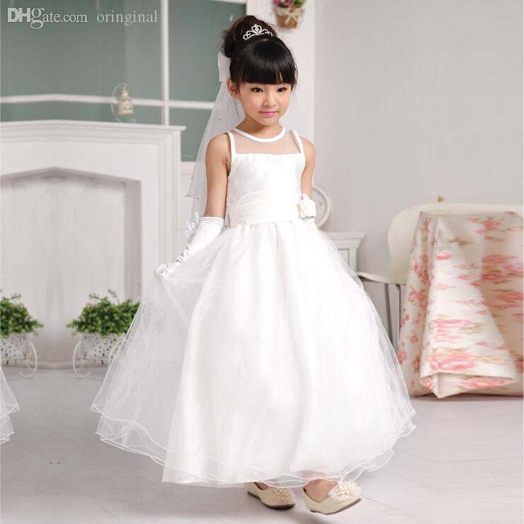 2018 Wholesale High Quality Flower Girl Dress White Simple Long For 2 14 Years Old Formal Princess Dresses Kd 14258 From Oringinal