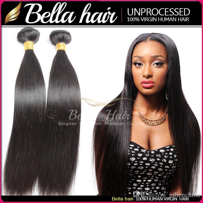 Bella Hair® 9A бразильские наращивания волос 10-24-дюймовые волосы уток на 100% человеческие волосы плетены натуральный цвет шелковистый прямой
