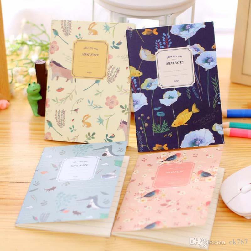 4 Adet / takım Kawaii Sevimli Çiçekler Kuşlar Hayvan Dizüstü Günlüğü Kitap Dergisi Kayıt Kayıt Ofis Okul Malzemeleri Boyama