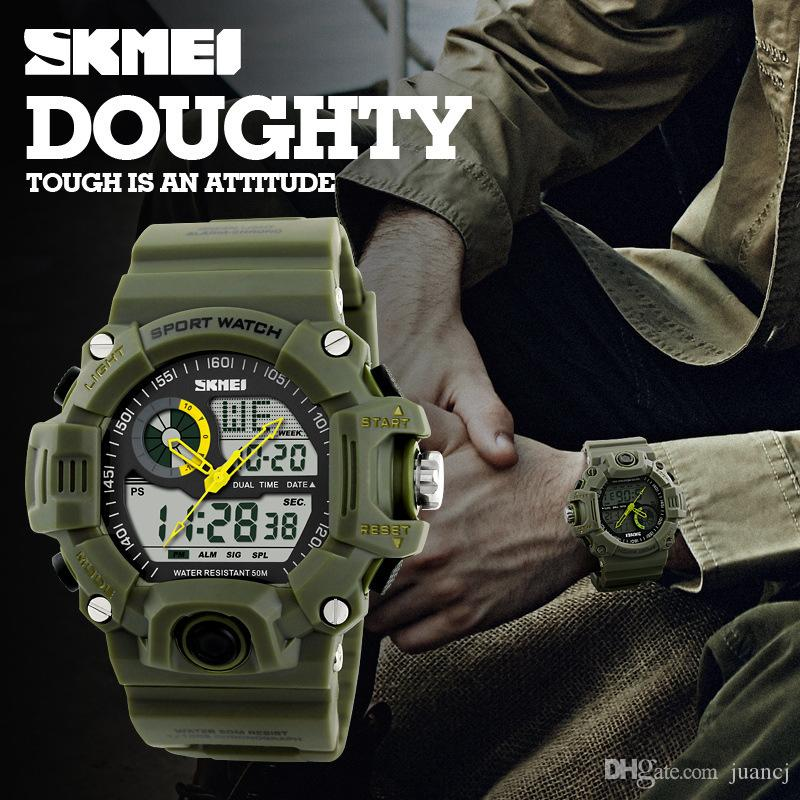 SKMEI Brand Reloje Hombre Style Digital Dual s shock Time Watches Men Fashion Man Sports Watches Luxury Brand Military Army