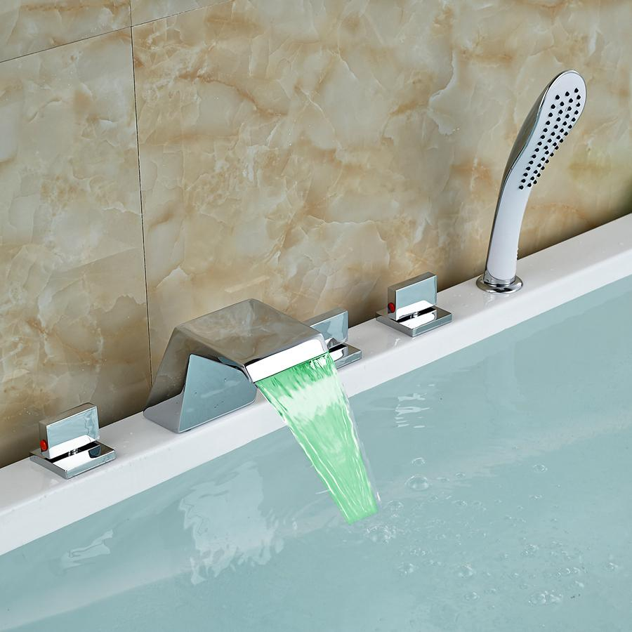 Wholesale And Retail Modern Chorme Brass LED Waterfall Spout ...