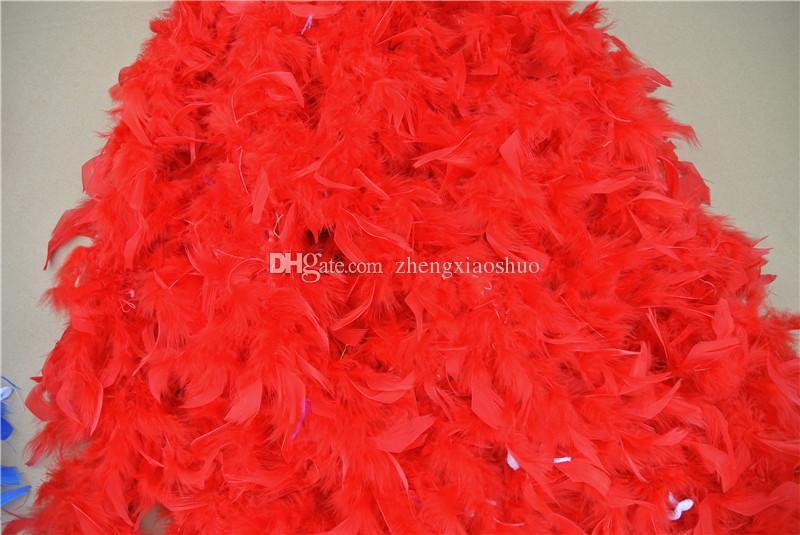 Envío gratis venta al por mayor 20 unids 200 cm / pcs pluma Boas 40gram pluma de la pluma Boa Marabou Feather Boa para la decoración