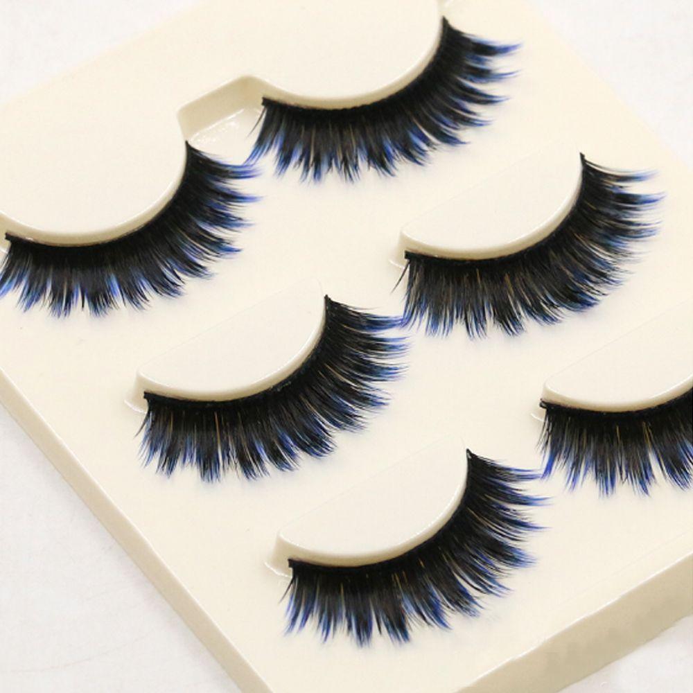 Y-49 /pack mixed Colors Eyelashes Lady Natural Soft Black Fake Eye Lashes Handmade Thick Fake False Eyelashes blue Color Makeup Tools