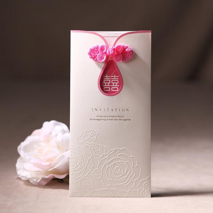 Cheongsam Wedding Invitation Pink 207103mm Laser Cut Elegant – Chinese Invitation Card