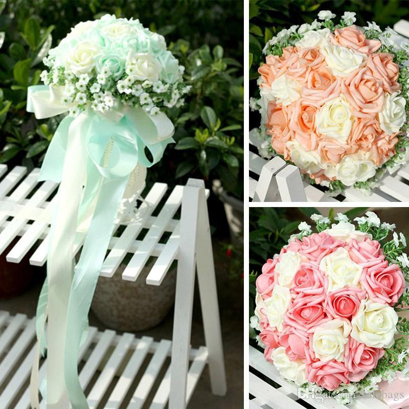 Wholesales Bride Hand Flowers Wedding Bouquet Mix Color Leather 22 ...
