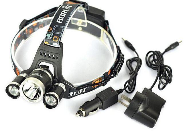 5000 lumen 3xcree XM-L T6 LED HeadLamp faro 18650 Testa Torcia Lampada + 2xchareger