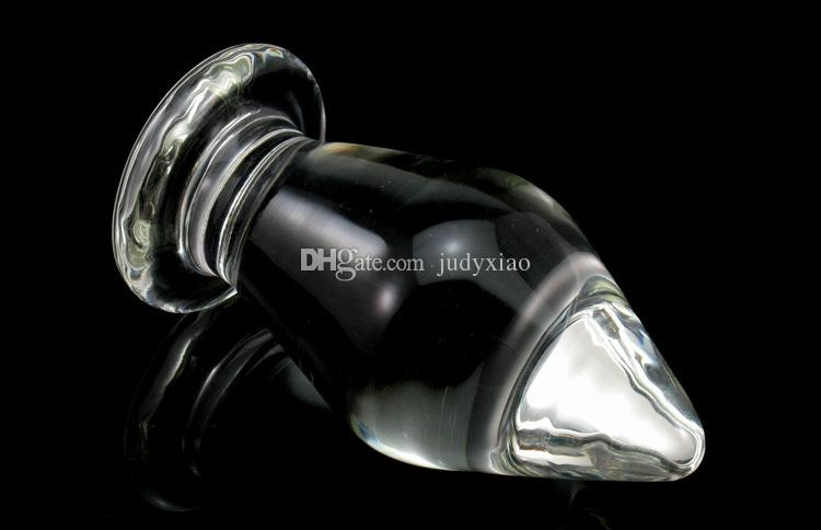 Huge Glass Butt Plug Extreme Anal Stretcher Anus Plunger Solo Play Masturbation Sex Toys For Women Clear