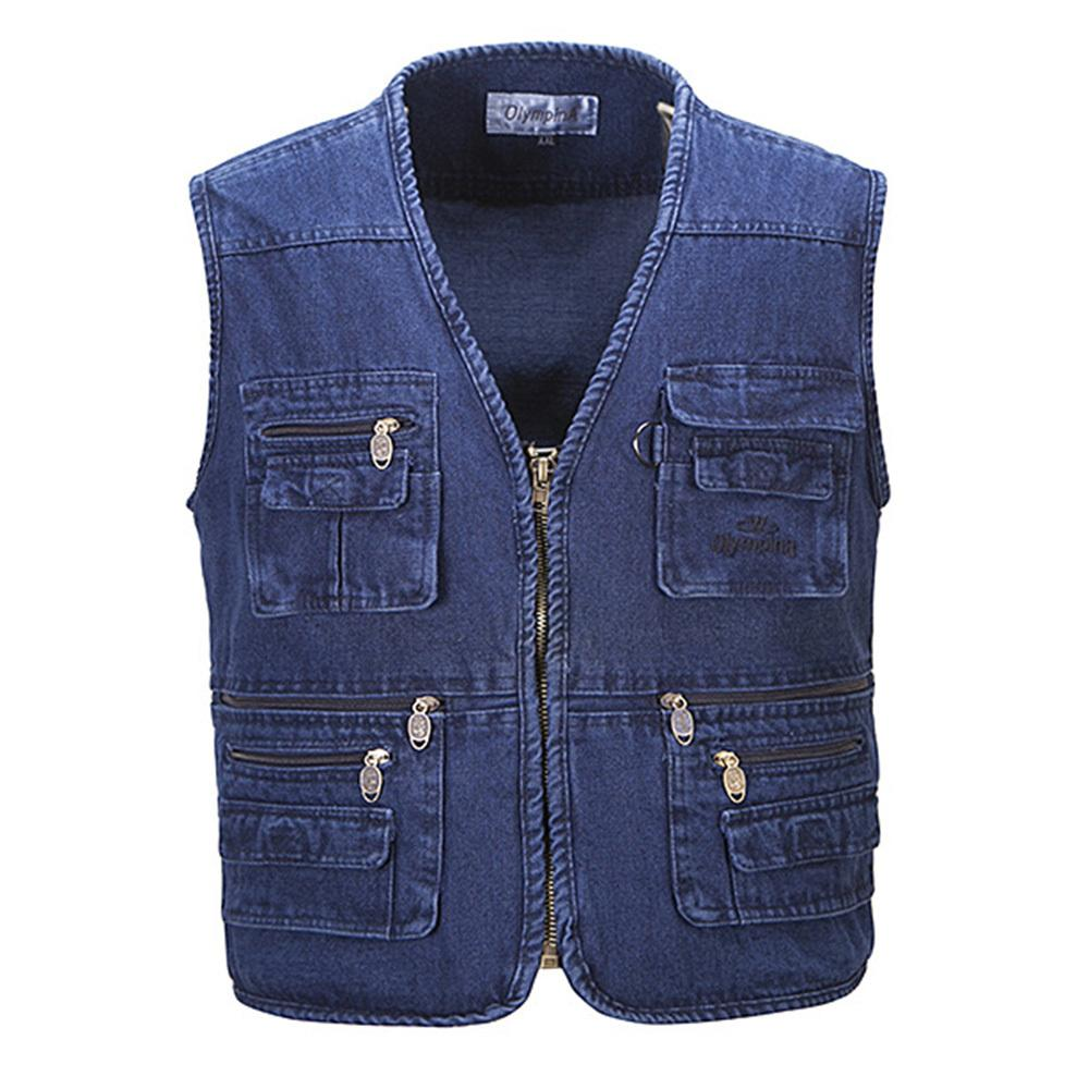 def75e7689f 2018 Fall Men Plus Size Fishing Hiking Sleeveless Jacket Denim Vest Outdoor  Casual Multi Pocket Waistcoat Jeans Vests Plus From Red2015