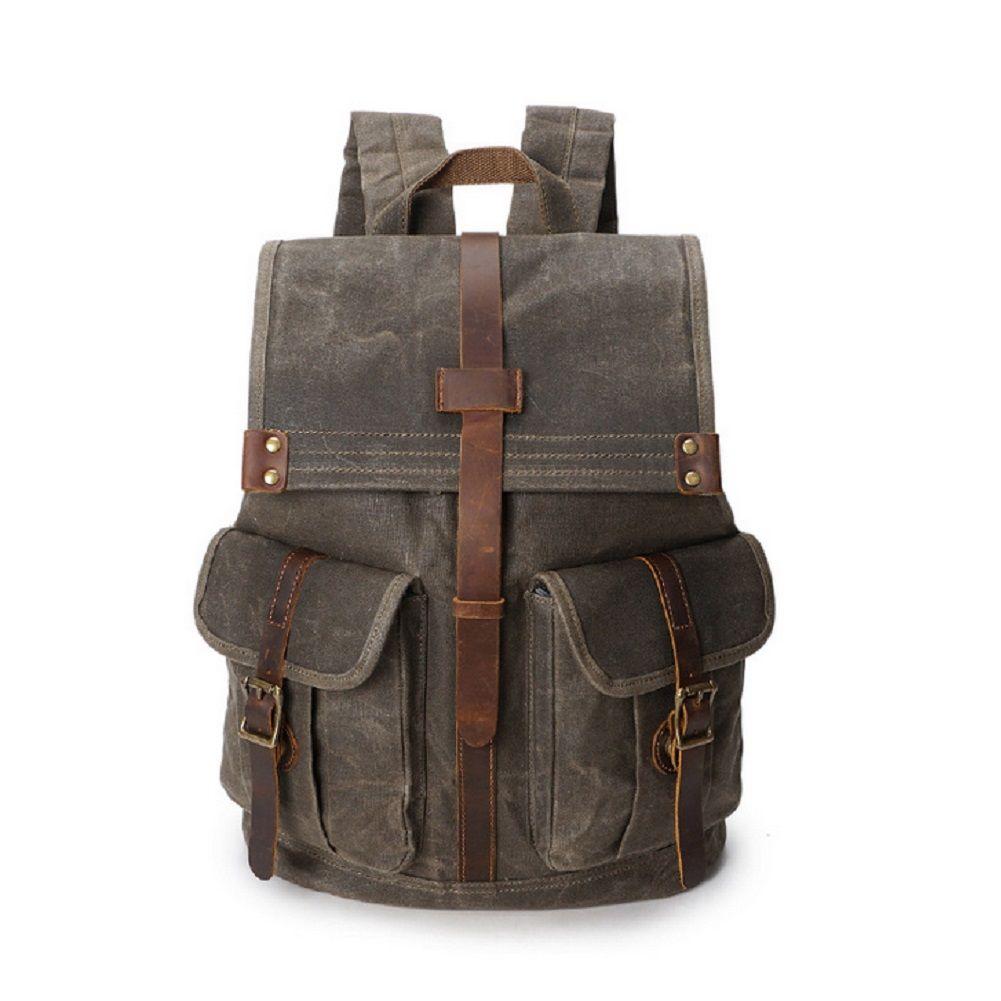 Vintage Travel Backpack,Oil Wax Canvas Shoulders Bag Waterproof Mountaineering Bag for 15.6 Inch Laptop