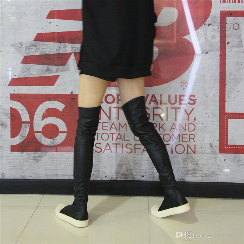 무릎 부츠 위로 스트레치 가을 겨울 여성용 카키 두꺼운 흰색 바닥 플랫 플랫 슈즈 허벅지 높은 부츠 긴 부츠