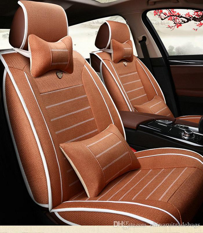 Auto Car Seat Cover Full Sets Universal Fit 5 7seat SUV Sedans Front Back Mats Automotive Interior Linen Coffee Black Cream Ventilated