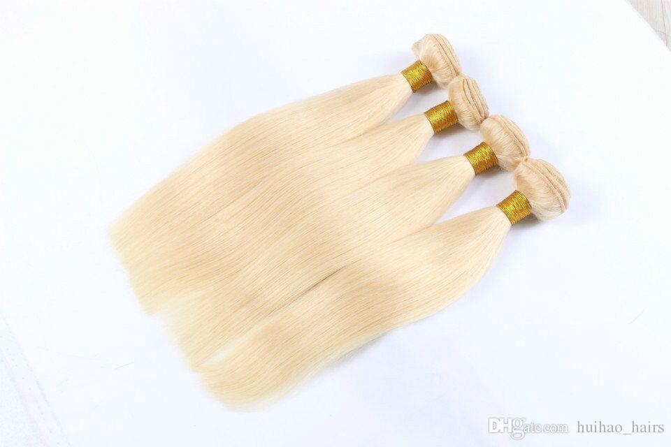 613 Platinum Blonde Haar Bundles 4 Bundle-Angebote gerade reines Haar 10 - 30 Zoll peruanischen brasilianischen indischen Menschenhaar-Webart Bundles