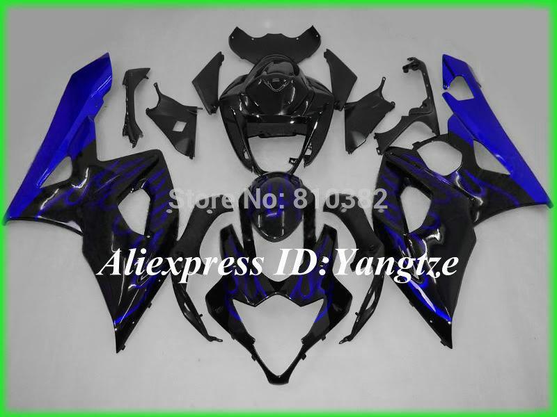 Custom motorcycle fairing kit for SUZUKI GSXR 1000 05 06 GSX-R GSXR 1000 K5 2005 2006 Blue flames black trim parts